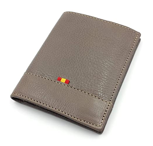 CARTERA BILLETERA TARJETERO MONEDERO VERTICAL PIEL UBRIQUE CON BANDERA DE ESPAÑA - COLOR TOPO