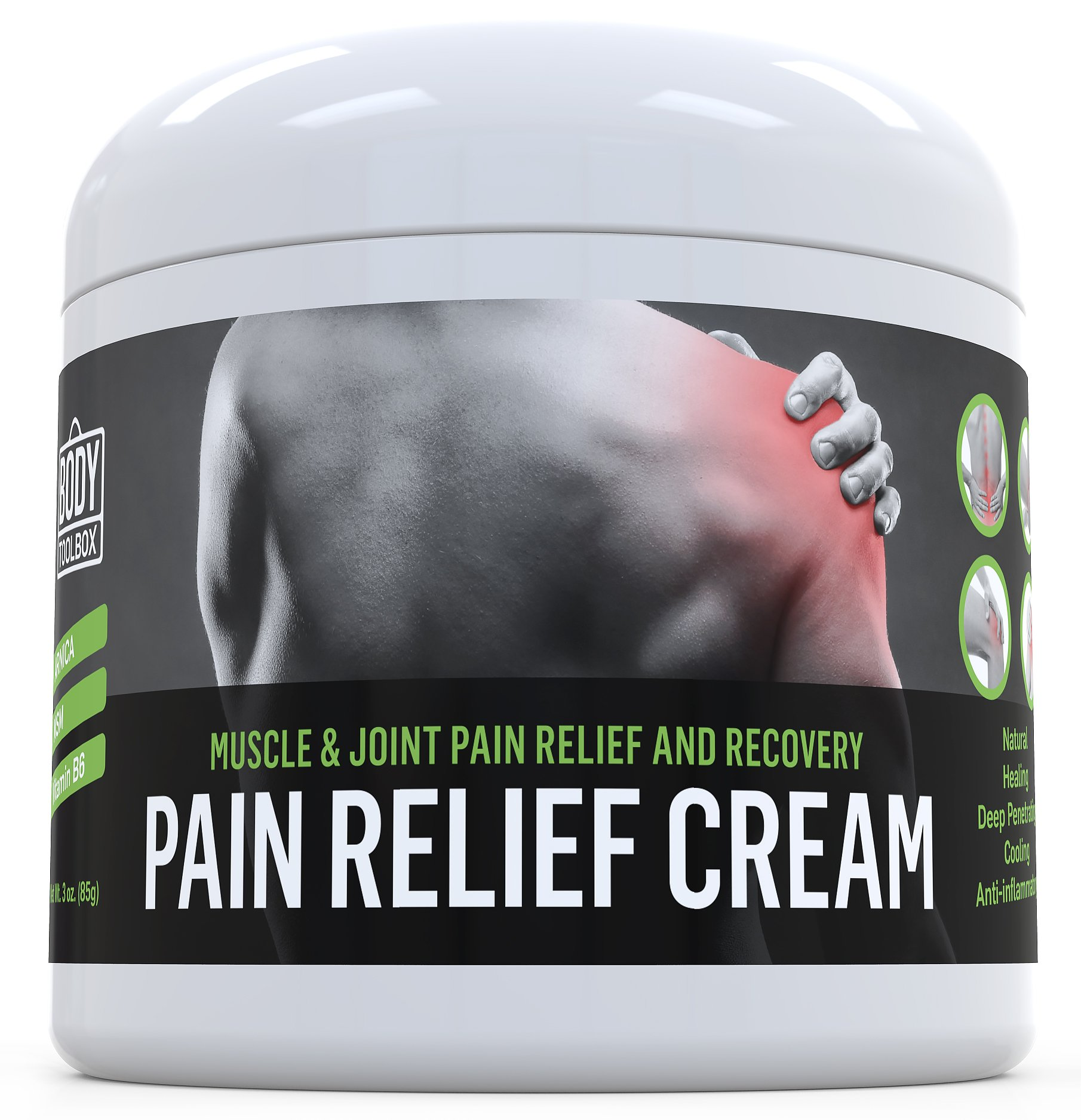 Pain Relief Cream (3 Oz) for Arthritis - Sore Muscles and Joint Pain - Analgesic Anti Inflammatory Pain Reliever for Recovery & Healing of Back Pain - Sprains, Aches & Bruises by Body Toolbox by Body Toolbox