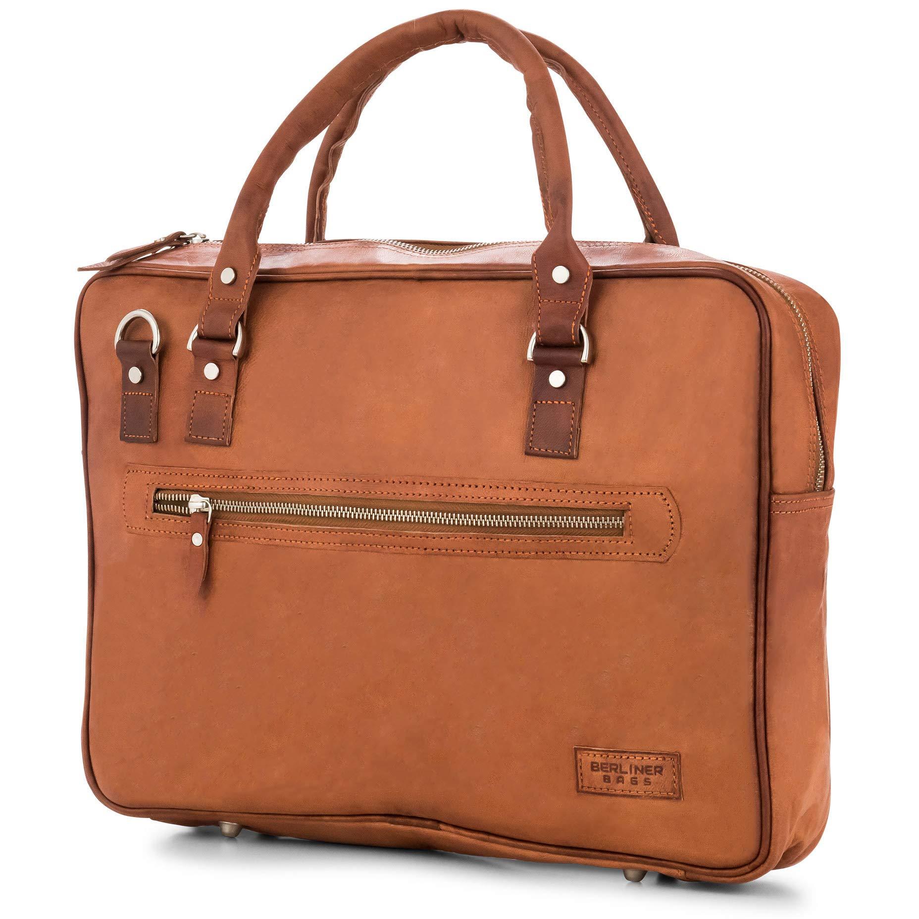 afffbafb2808e Laptoptasche Berliner Bags Madrid Leder 15 Zoll Aktentasche Businesstasche  Umhängetasche Handtasche Vintage Braun Herren Damen