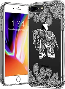 BICOL iPhone 8 Plus Case,iPhone 7 Plus Case,Elephant Floral Pattern Clear Design Transparent Plastic Hard Back Case with TPU Bumper Protective Case Cover for Apple iPhone 7 Plus/8 Plus