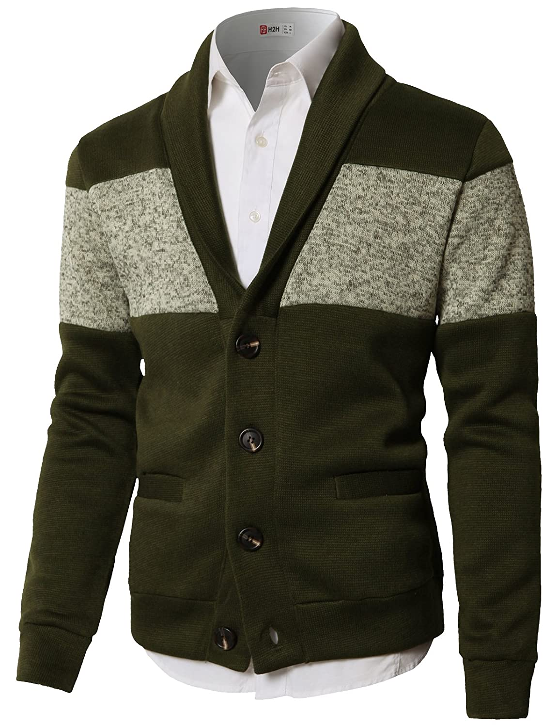 H2H Mens Casual Premium Long Sleeve Shawl Collar Button Front Cardigan #CMOCAL010