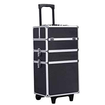 Amazoncom SONGMICS In Rolling Makeup Train Case With Wheels - Aluminum trolley case pro rolling makeup cosmetic organizer