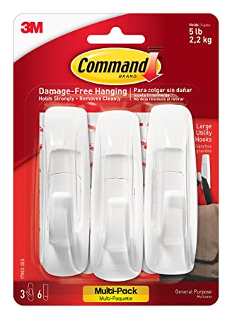 3M Command Large Plastic Utility Hook, White, 1-hook, 2-strips (17003ES), Pack of 3 at amazon