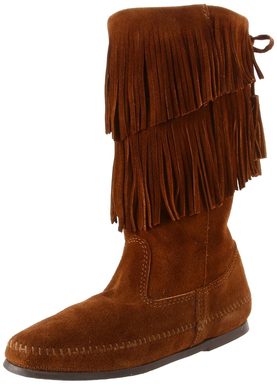 Minnetonka Women's Calf Hi 2-Layer Fringe Boot B0074346YM 6 B(M) US|Dusty