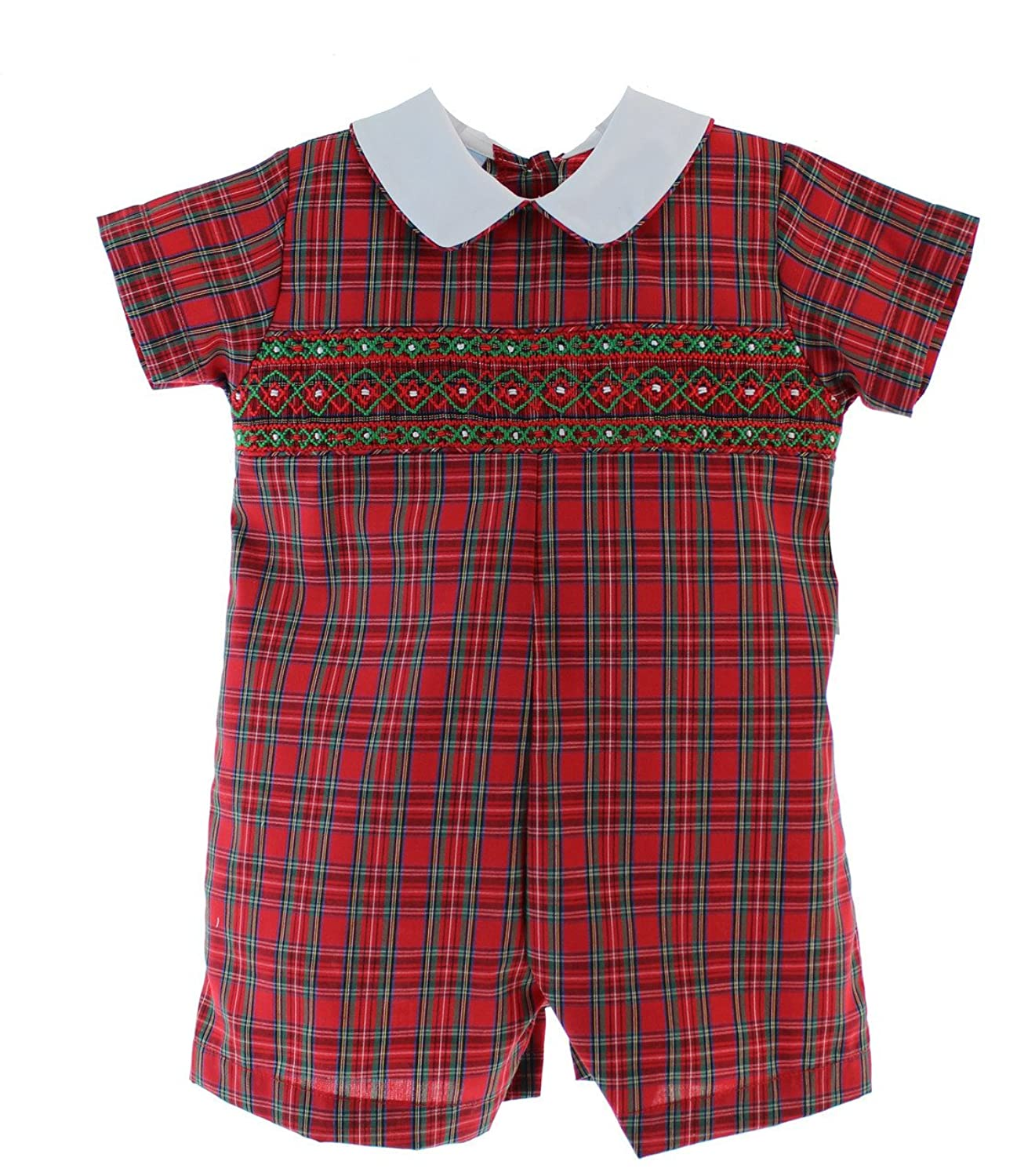 ca4fb6bbf Boys Smocked Christmas Romper Outfit Red Plaid Shortall · Baby Boy Smocked  Christmas Outfits