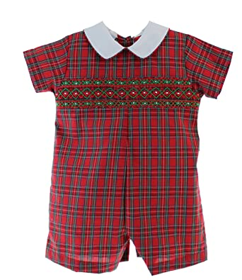 Boys Smocked Christmas Romper Outfit Red Plaid Shortall 9M - Amazon.com: Boys Smocked Christmas Romper Outfit Red Plaid Shortall
