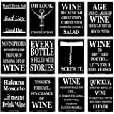 Set of 12 Black and White Funny Wine Bottle Labels - 5 Inch X 4 Inch