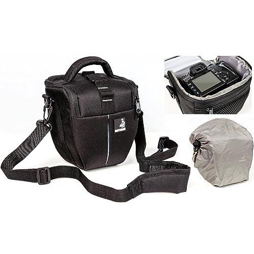 Sacchetto della macchina fotografica BODYGUARD Colt M con parapioggia per tutte le fotocamere reflex con lenti fino a 18 centimetri, come Canon EOS 70D 77D 80D 100D 200D 1200D 1300D 2000D 4000D 700D 750D 760D 77D 800D Nikon D3300 D3400 D5100 D5300 D5500 D5600 D7200 D7500