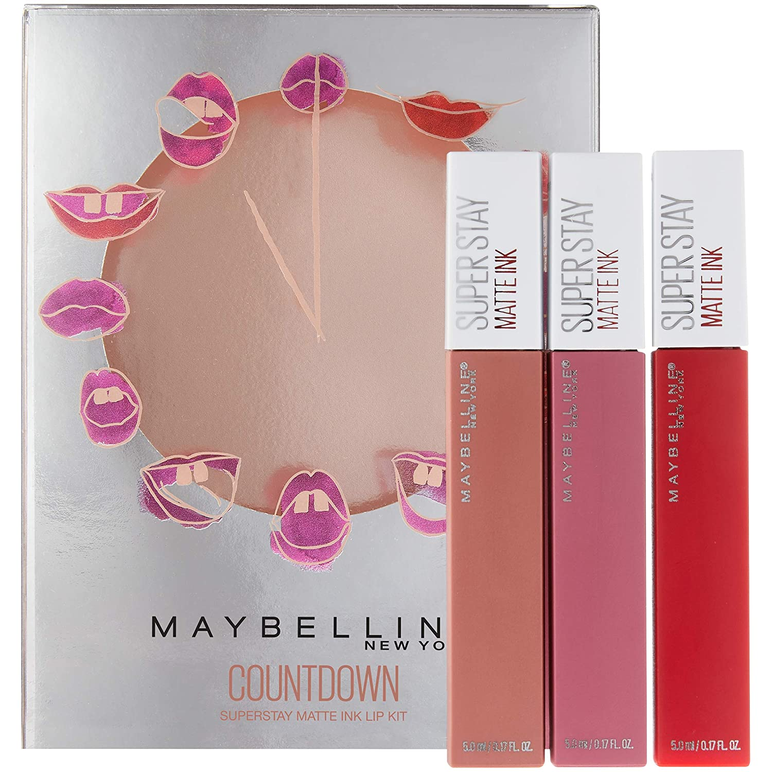 25f19c6ce1d Amazon.com : Maybelline New York Superstay Matte Ink Liquid Lipstick Makeup  Holiday Kit, Lover/Pioneer/Seductress : Beauty