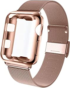 GBPOOT Compatible for Apple Watch Band 38mm 40mm 42mm 44mm with Screen Protector Case, Sports Wristband Strap Replacement Band with Protective Case for Iwatch Series 6/SE/5/4/3/2/1,38mm,Pink Gold