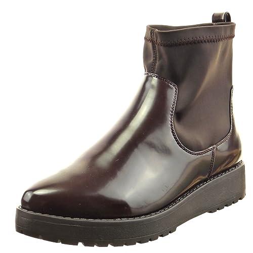 Sopily - Zapatillas de Moda Botines botas de guma de lluvia flexible Tobillo mujer Talón Plataforma 3 CM - Marrón CAT-3-DH935 T 41: Amazon.es: Zapatos y ...