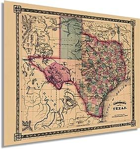 Historix Vintage 1866 Texas Map Poster - 24 x 30 Inch Vintage Texas Map - Texas Map Wall Art - Old Texas Map - Historic Texas Map - Vintage Map of Texas - Old Map of Texas (2 Sizes)