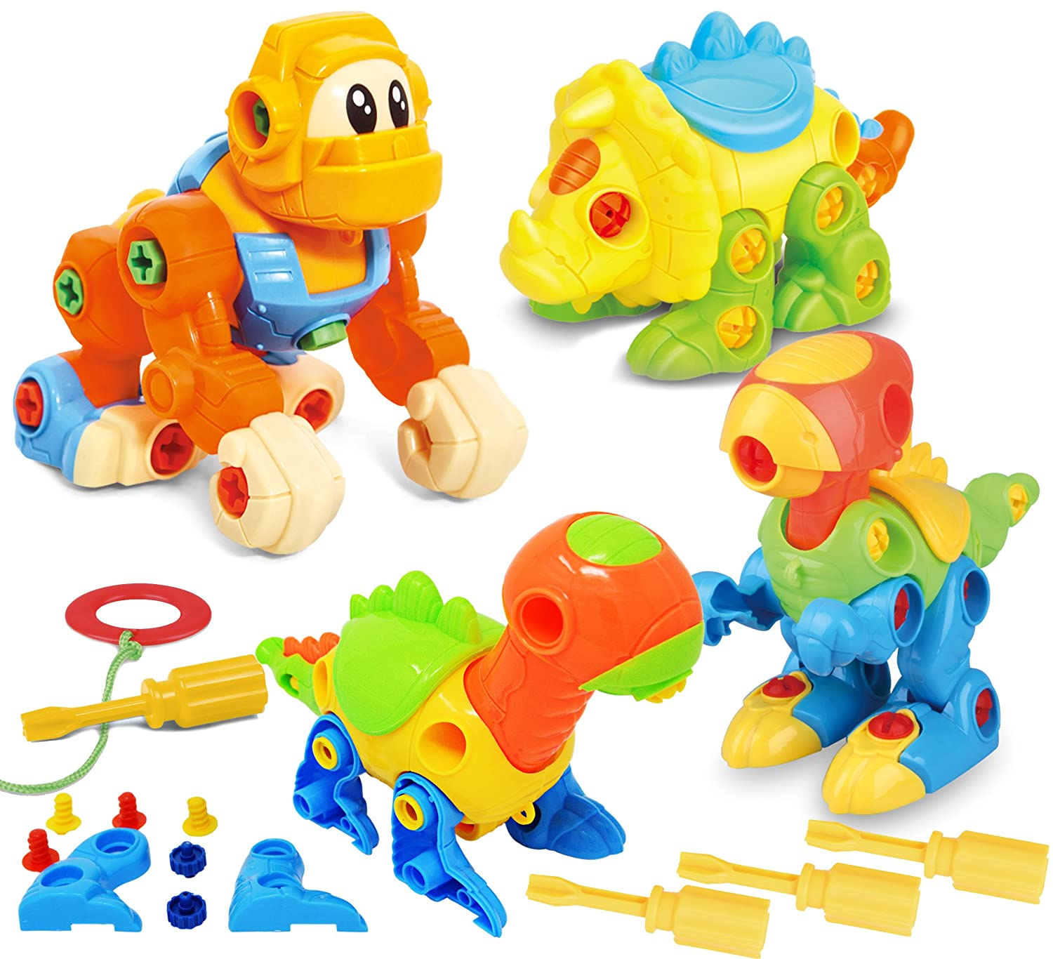 Joyin Toy Dinosaur Toys Take Apart Toys (Pack of 4) - Construction Engineering Building Play Set Review