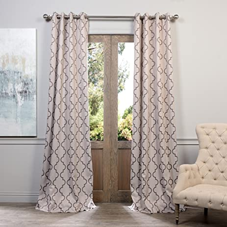 2 Piece 84 Inch Tan Moroccan Curtains Panel Pair Set Light Brown Color Geometric Drapes