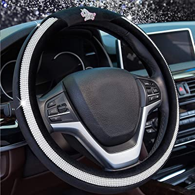 Valleycomfy Diamond Steering Wheel Cover for Women Girls, Winter Warm Plush Car Wheel Cover with Bling Crystal Rhinestones, Universal Fit 15 Inch Anti-Slip Wheel Protector, Black: Automotive