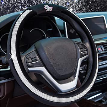 Alusbell Bling Bling Rhinestones Steering Wheel Cover for Women Diamand Crystal Steering Wheel Cover with PU Leather Universal Fit 15 Inch Black
