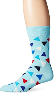 Happy Socks Mens 1Pk Unisex Combed Cotton Crew Triangle, Blue/Red/White,
