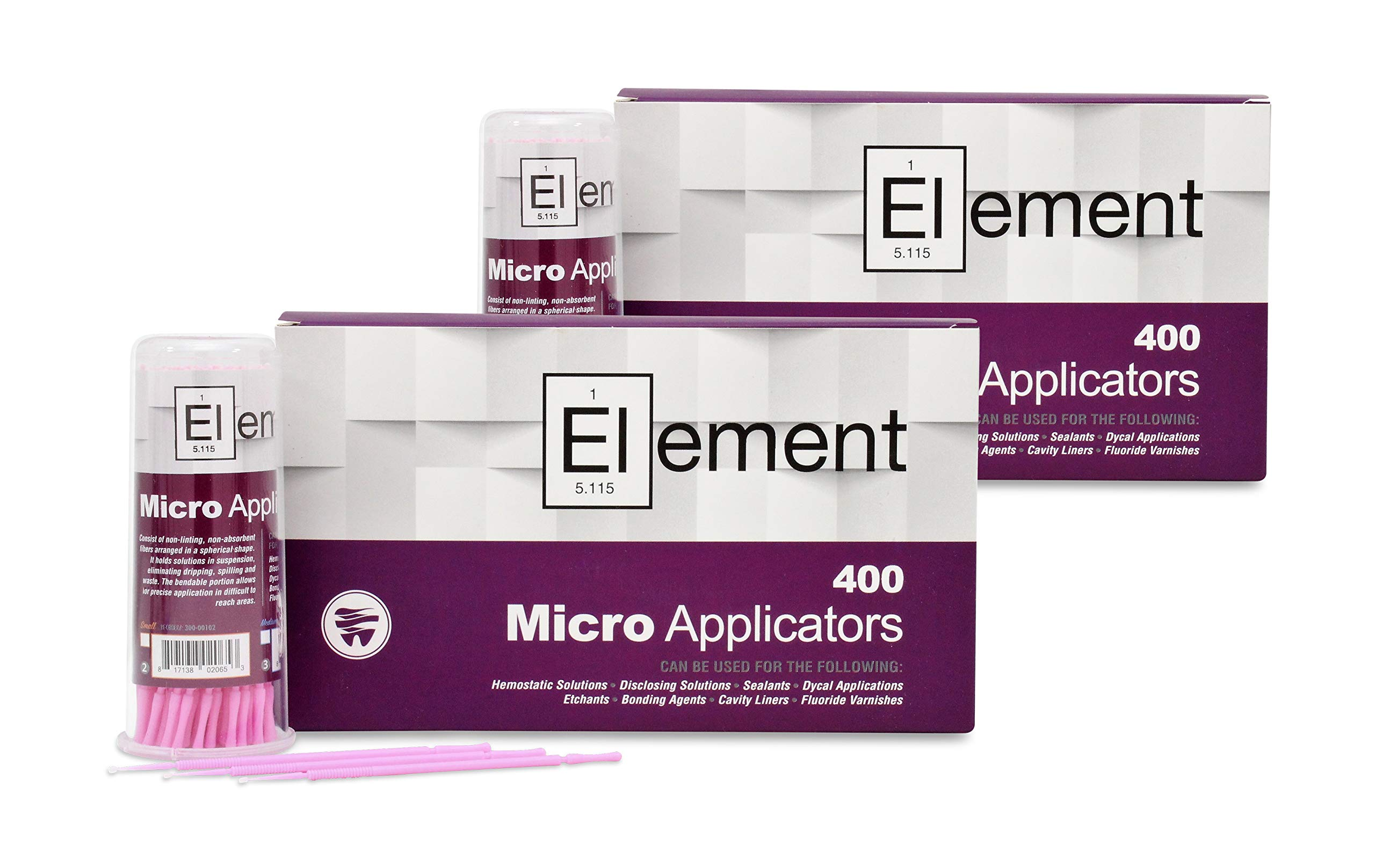 ELEMENT Micro Applicator Brush/Microbrush - X-SMALL TIP/PINK (800 pcs) by Elite Dental Products (Image #1)
