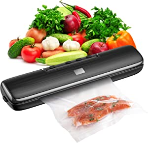 Vacuum Sealer Machine, 2021 Newest Automatic Food Savers Vacuum Packing Machine, Heat Sealer With 15 PACK Sealer Bags, Smart Control, Dry & Moist Food Modes, Include Vacuum Tube and Power Cord
