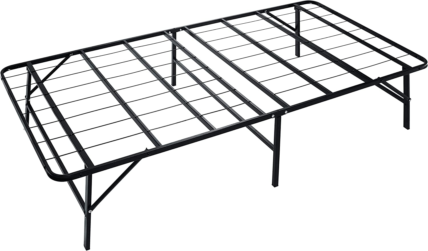 Naomi Home idealBase 14 Platform Metal Bed Frame – Mattress Foundation Box Spring Replacement Twin Black