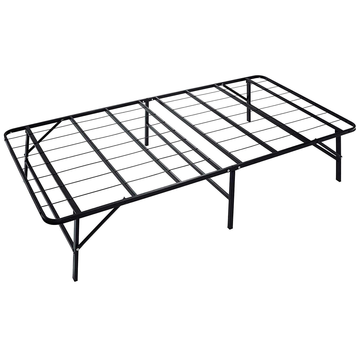 HAAGEEP Twin Bed Frame with Headboard Storage No Box Spring Needed Metal Platform Single Size Bedframe Foundation 14 Inch High