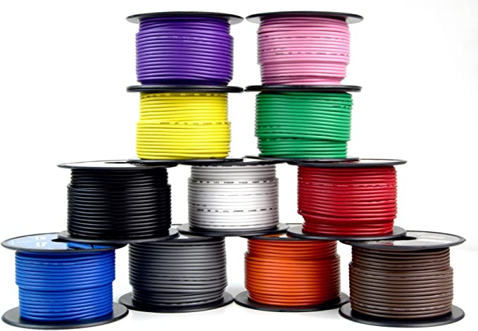 10 ROLLS 12 GA GAUGE 100 FT SPOOLS PRIMARY AUTO REMOTE POWER GROUND WIRE CABLE