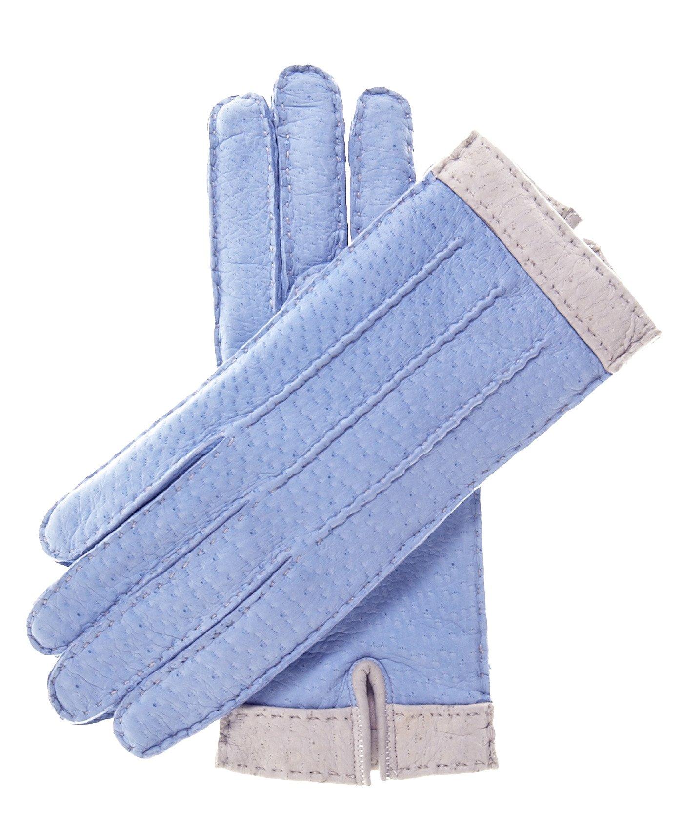 Fratelli Orsini Women's Italian Cashmere Lined Peccary Gloves Size 6 Color Sky