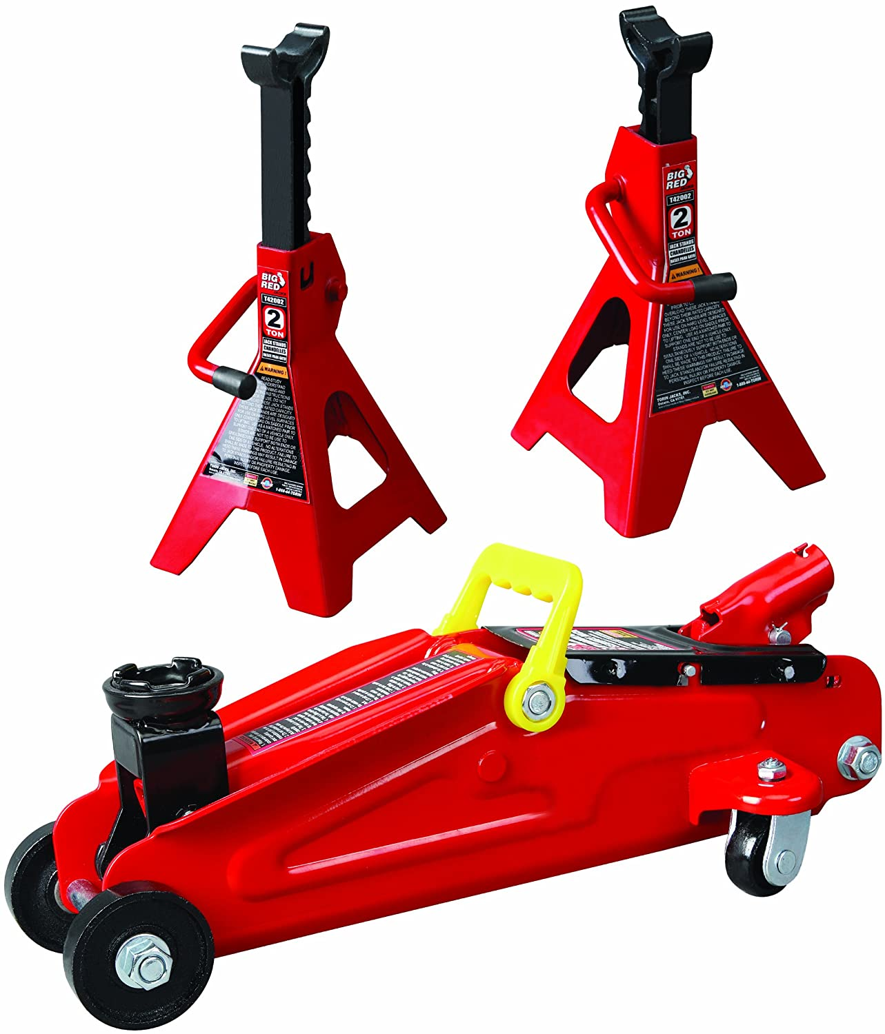 Torin Big Red Hydraulic Trolley Floor Jack Combo with 2 Jack Stands, 2 Ton Capacity T82001