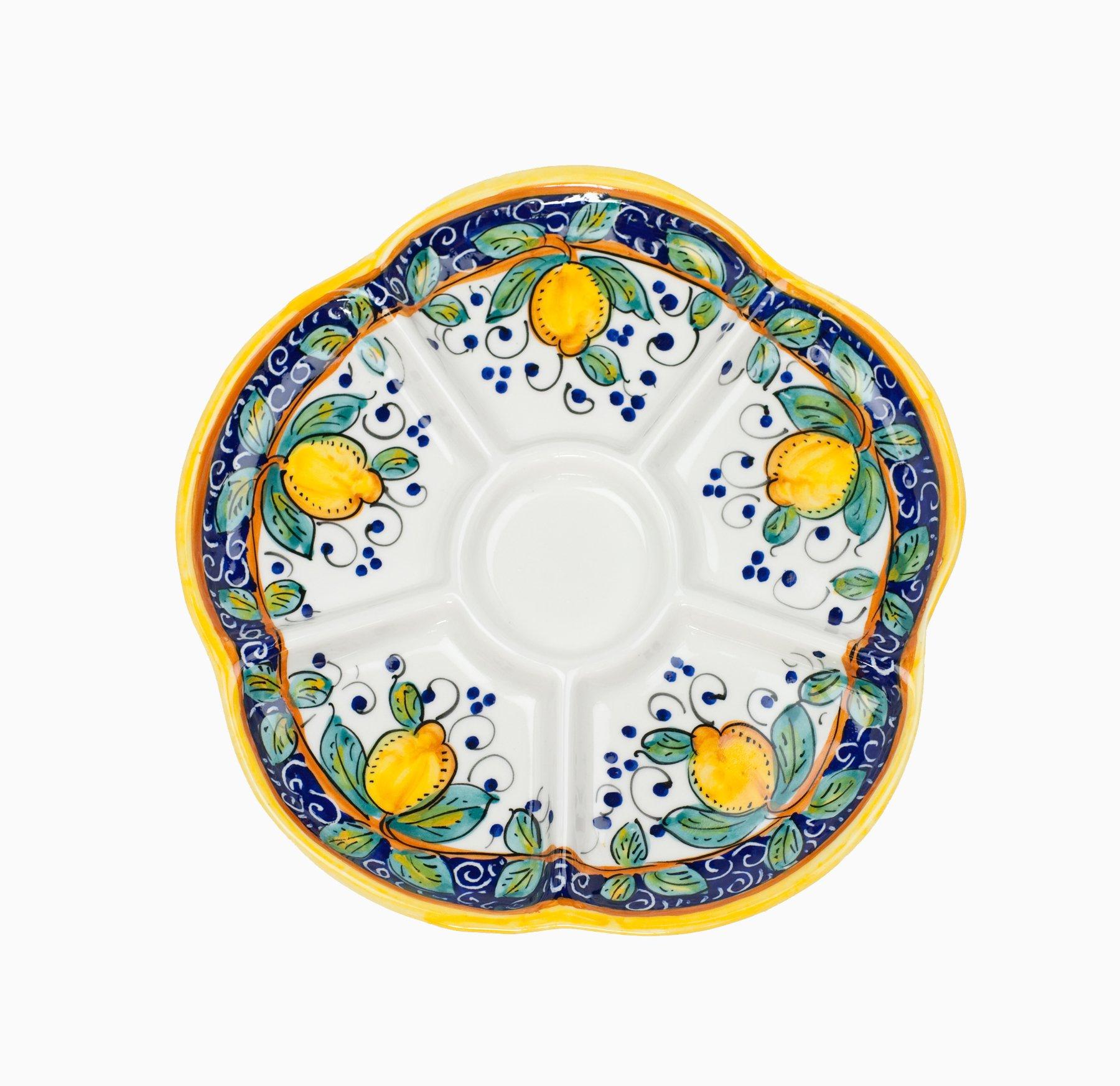 Arte D'Italia Imports Hand Painted Alcantara Divided Dish From Italy
