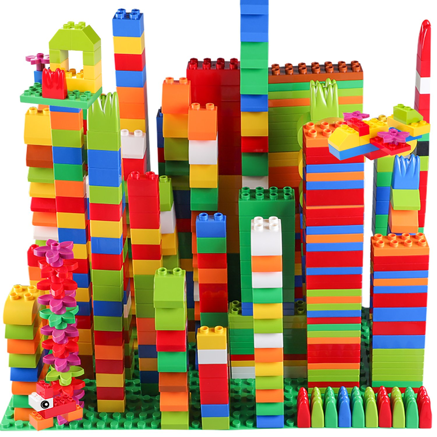 burgkidz Big Building Block Sets - 214 Pieces Toddler Educational Toy Classic Large Sizes Building Blocks Bricks - 13 Fun Shapes and Storage Bucket - Compatible with All Major Brands by burgkidz (Image #7)