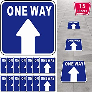 15 Pieces One Way Sticker Sign, Social Distance Directional Floor Decal Sticker Non-slip Re-adjustable Arrow Floor Sticker, Safety Floor Marker for Mall Store Office Grocery (Blue,White)