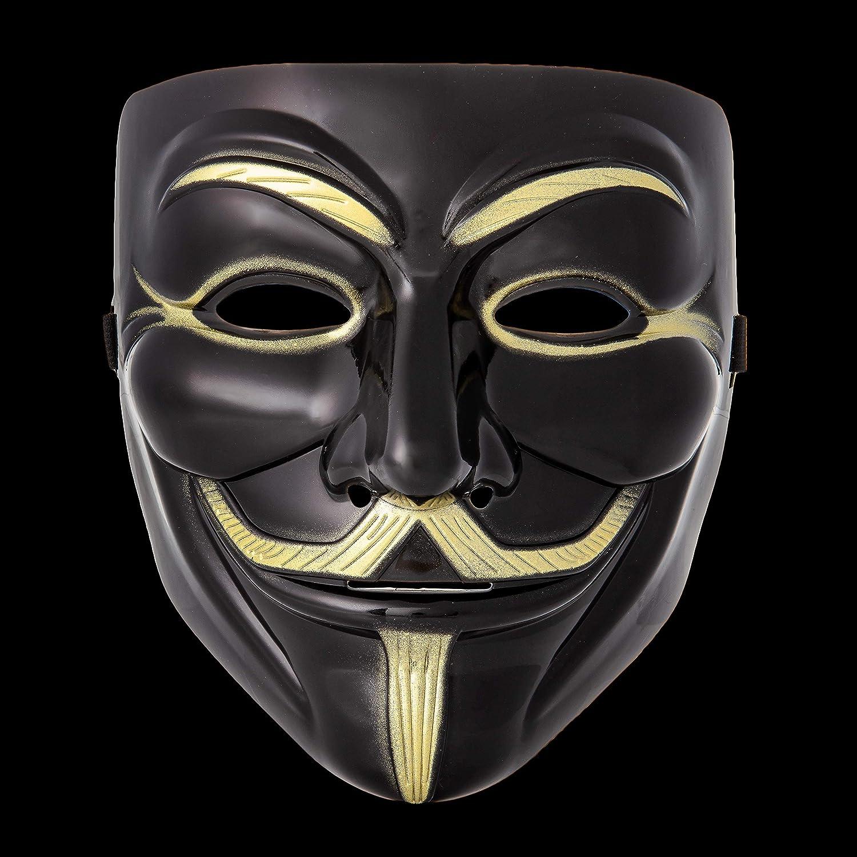 UltraByEasyPeasyStore Ultra Negro Adultos Guy Fawkes Mascara Hacker An/ónima V de Vendetta Halloween Disfrace Disfraz Calidad con Correa El/ástica Elegante 1