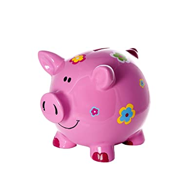 Mousehouse Gifts Large Big Pink Pig Money Box Toy Coin Savings Piggy Bank with Flowers for Kids Adults Children Present Gift for Girls: Toys & Games