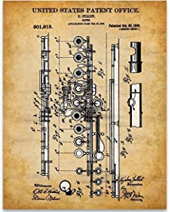 Flute Patent - 11x14 Unframed Patent - Perfect Music Room Decor and Great Gift Under $15 for Band Director, Musician