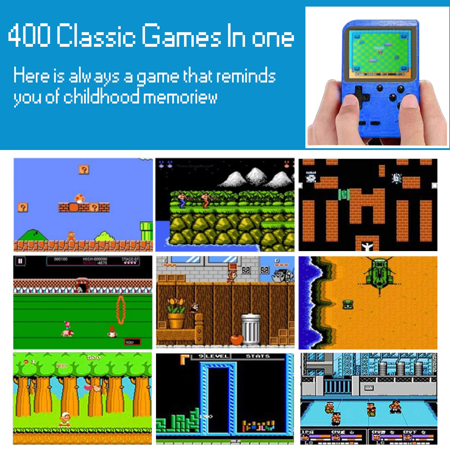 Handheld Game Console, Kiztoys Retro Video Games Console for kids with 400 Classic Games, Supporting 2 Players and TV Connection, 800 mAh Rechargeable Battery