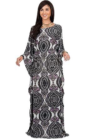 78747fa836b KOH KOH Petite Women Long Kaftan Caftan Boho Bohemian Print Flowy Casual  Abaya Moroccan Summer Party