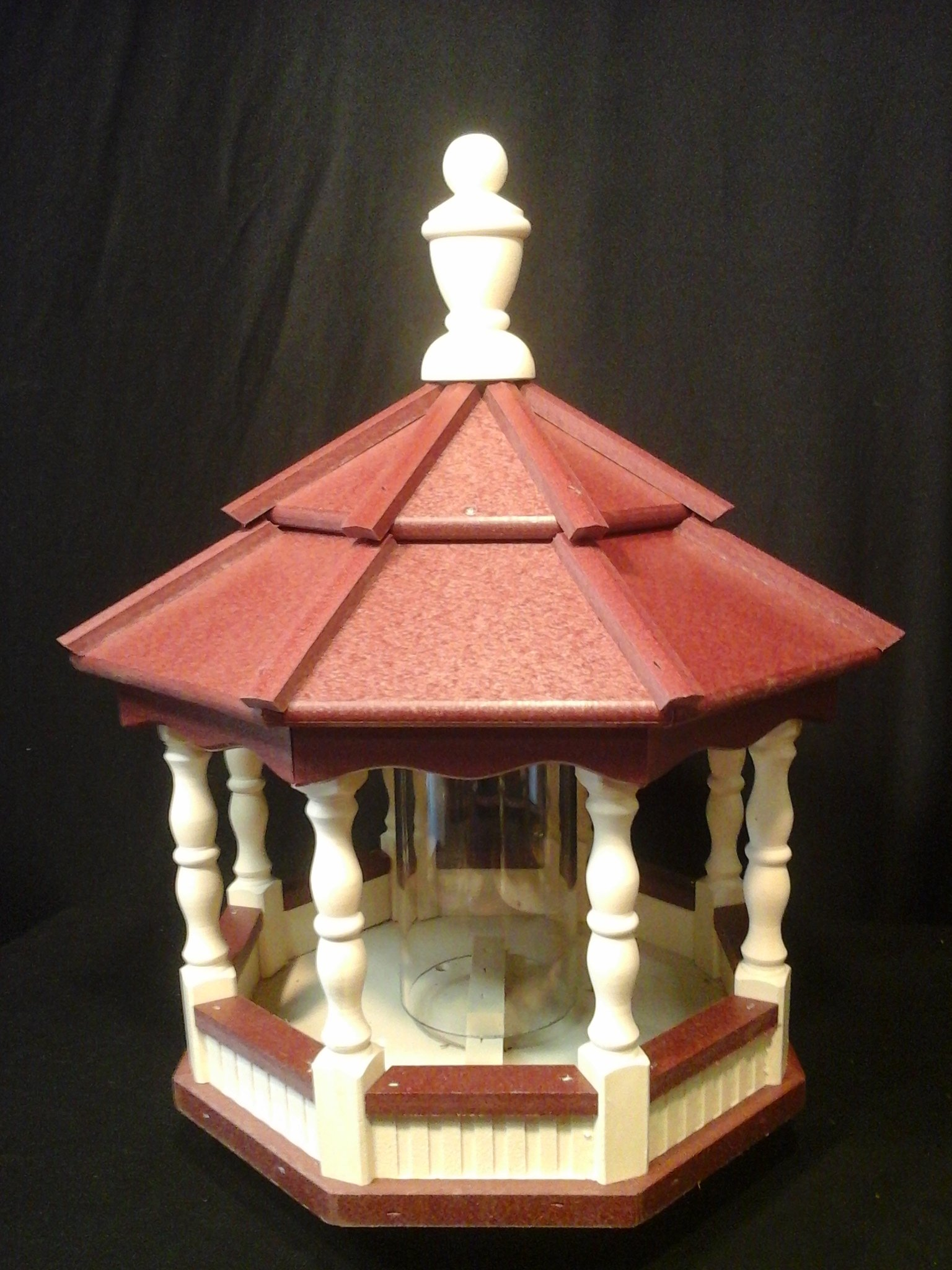Poly Bird Feeder Amish Gazebo Handcrafted Homemade Ivory & Red Roof by Amish Crafted