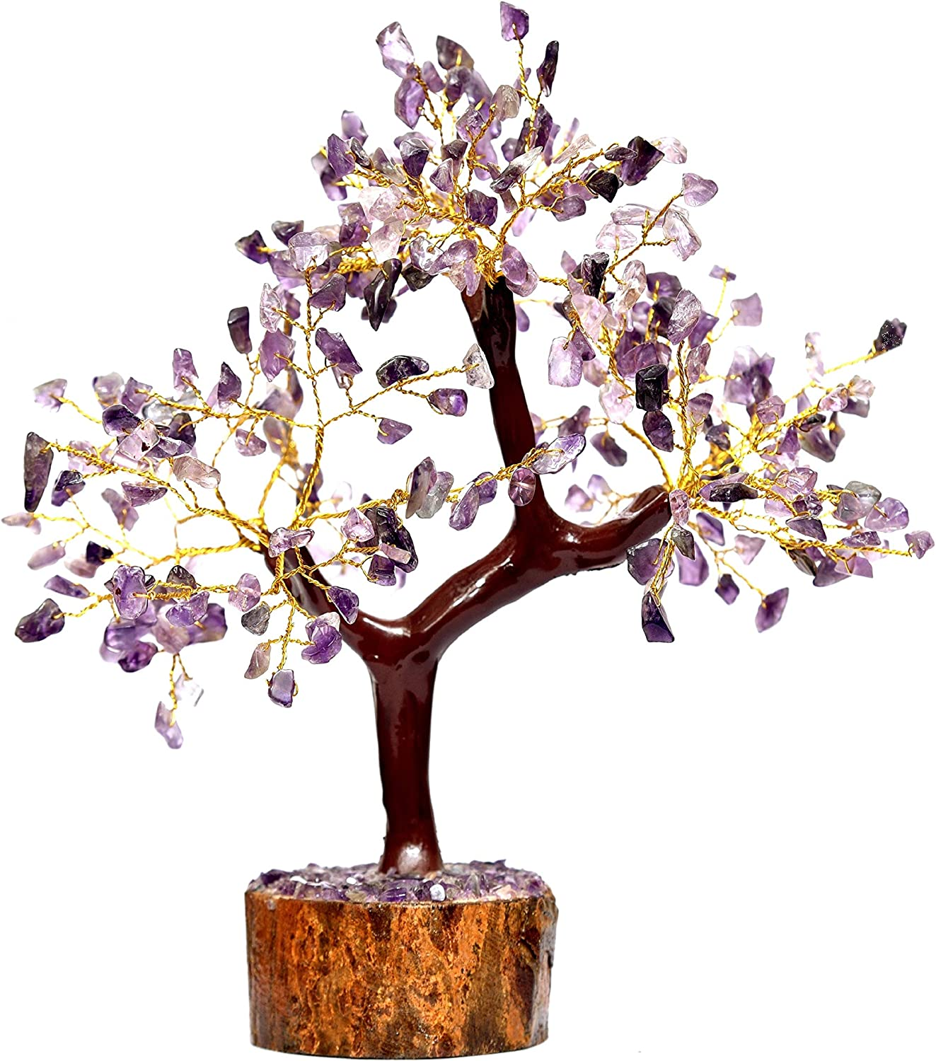 Crystals Healing Amethyst Gemstone Money Tree (Tree of Life Pendant Gift) Feng Shui Bonsai for Reiki, Energy Generator Spiritual Meditation Home Interior Office Decor Size 10-12 Inch in Gold Wire