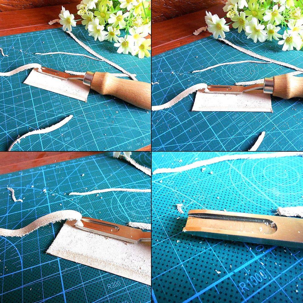 Trabajo de cuero Wide Edge Beveler Leathercraft Herramienta para cortar Skiving Mango de madera Herramienta Edge Skiving para cuero