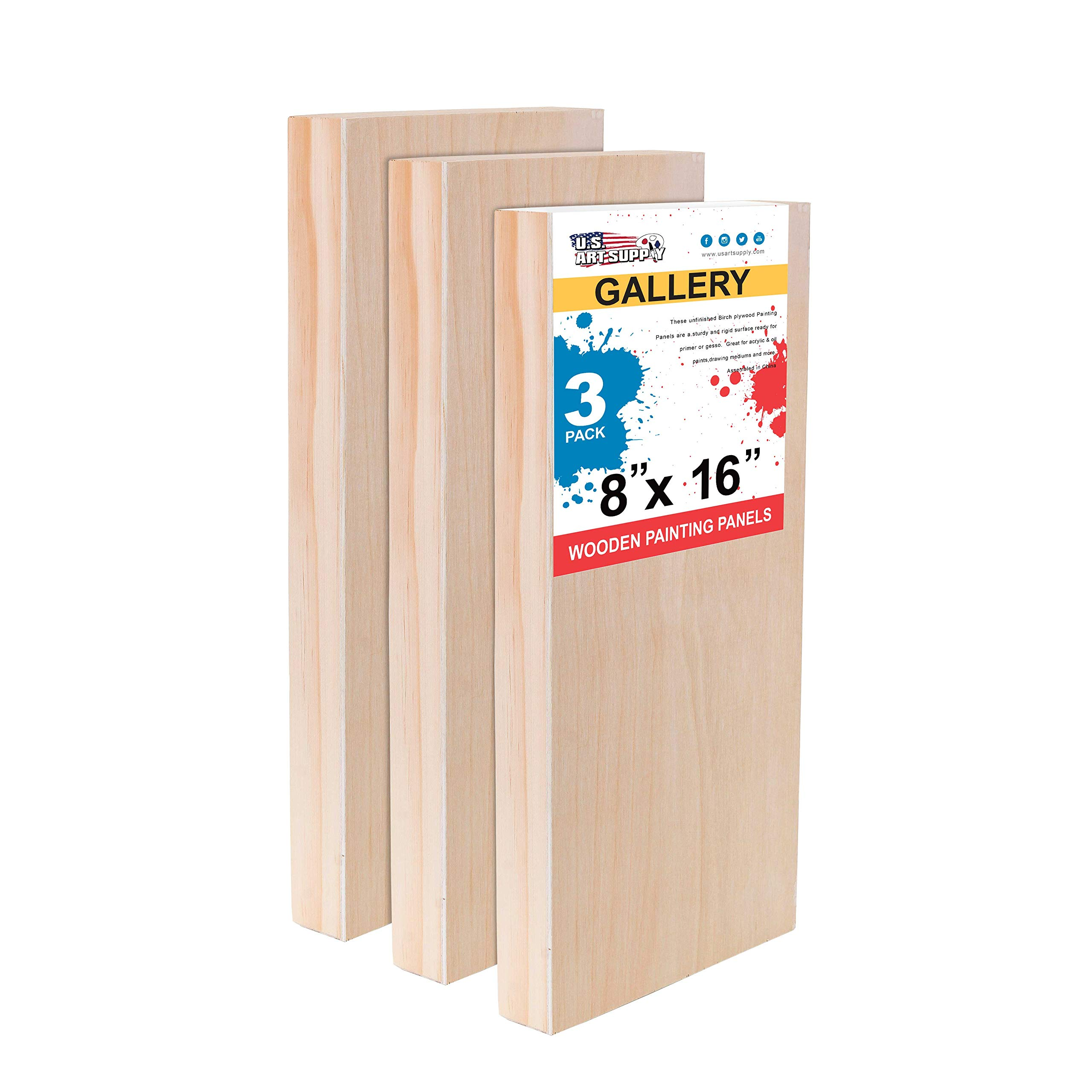 U.S. Art Supply 8'' x 16'' Birch Wood Paint Pouring Panel Boards, Gallery 1-1/2'' Deep Cradle (Pack of 3) - Artist Depth Wooden Wall Canvases - Painting Mixed-Media Craft, Acrylic, Oil, Encaustic by U.S. Art Supply