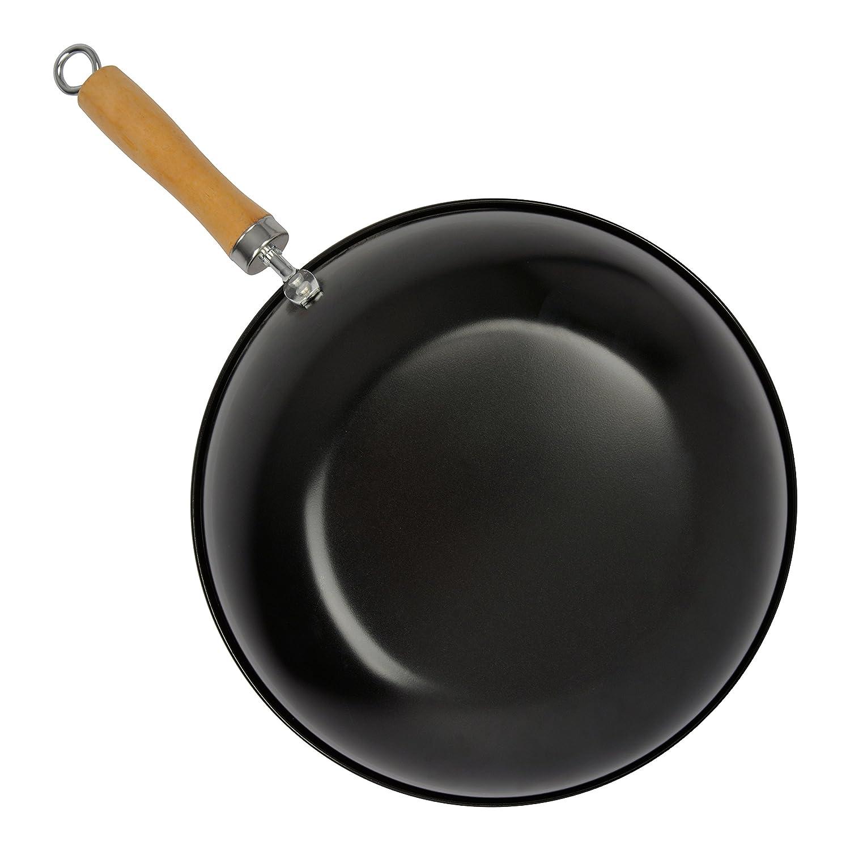 Negro Acero Bloquer Mario Wok con Mango 30 cm