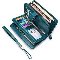 Portafoglio Donna Grande, Portamonete con Cerniera, Portafoglio con Protezione RFID, BAGTECH Porta Carte di Credito Tasche Pelle