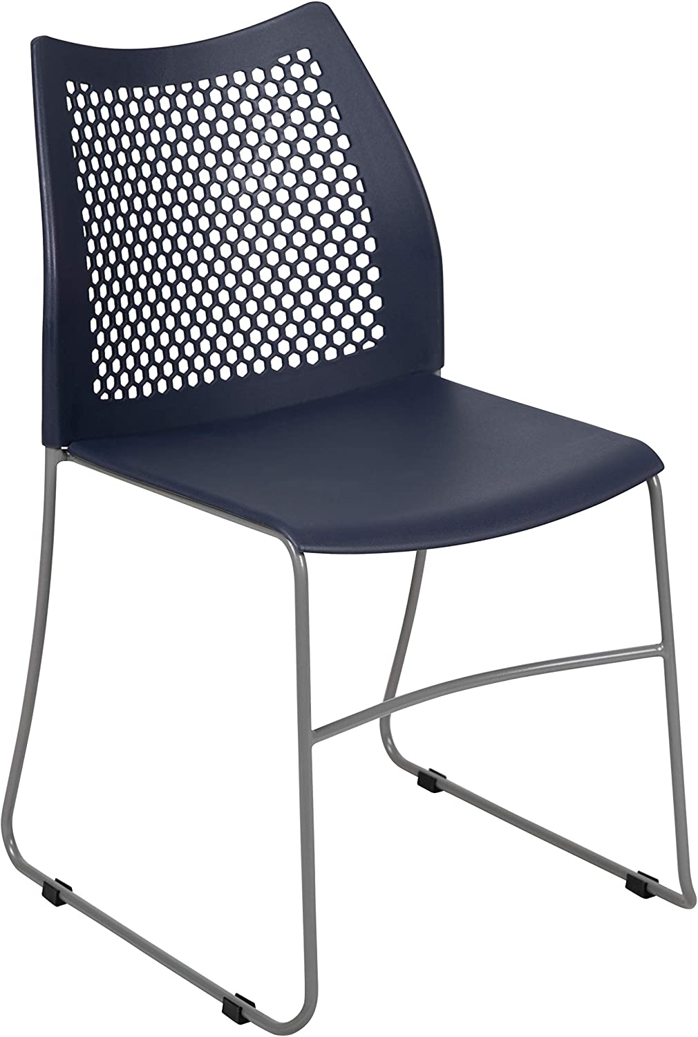 Flash Furniture HERCULES Series 661 lb. Capacity Navy Stack Chair with Air-Vent Back and Gray Powder Coated Sled Base