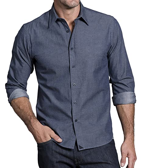 7619400cb31d UNTUCKit Barbera Men's Button Down Shirt, Selvedge Blue Chambray, 100%  Cotton Chambray, XXX-Large Regular Fit at Amazon Men's Clothing store: