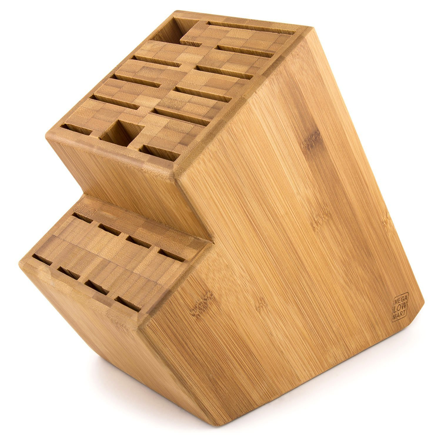 Megalowmart 18 Slot Bamboo Wood Kitchen Knife Block Stand