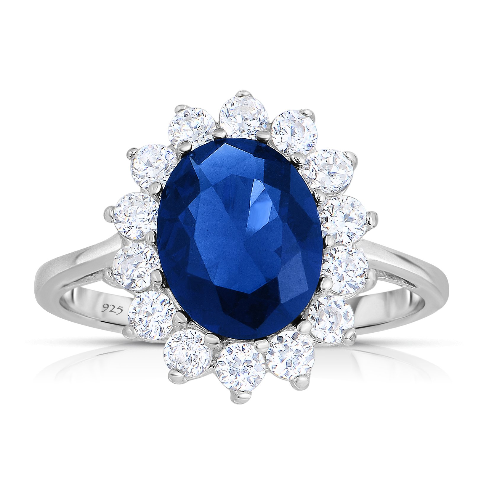 Sterling Silver Kashmir Blue Sapphire CZ with White CZ Helo Jacket Princess Diana Kate Middleton Engagement Ring - Size 8