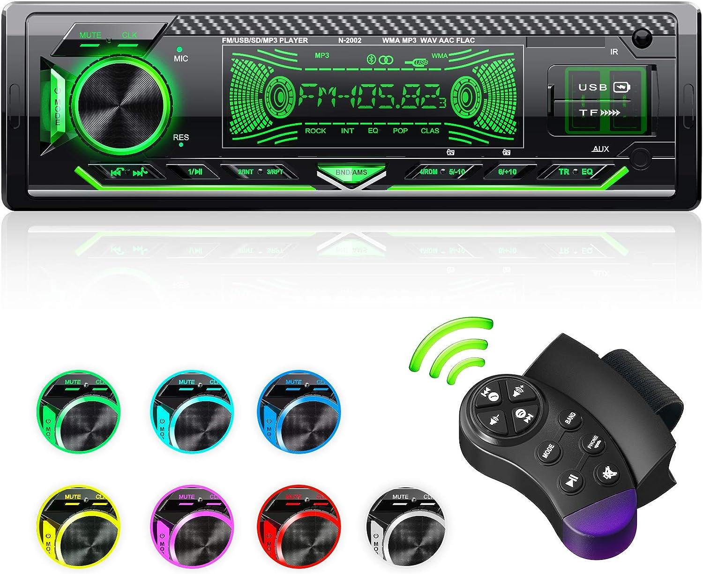 CENXINY Radios para Coche Bluetooth, 1 DIN Universal Car Radio Manos Libres Incorporado micrófono Bluetooth 5.0, 4X65W Car Stereo, USB/TF/FM/AUX/WMA/WAV/MP3 Media Player con 7 Luces de Colores