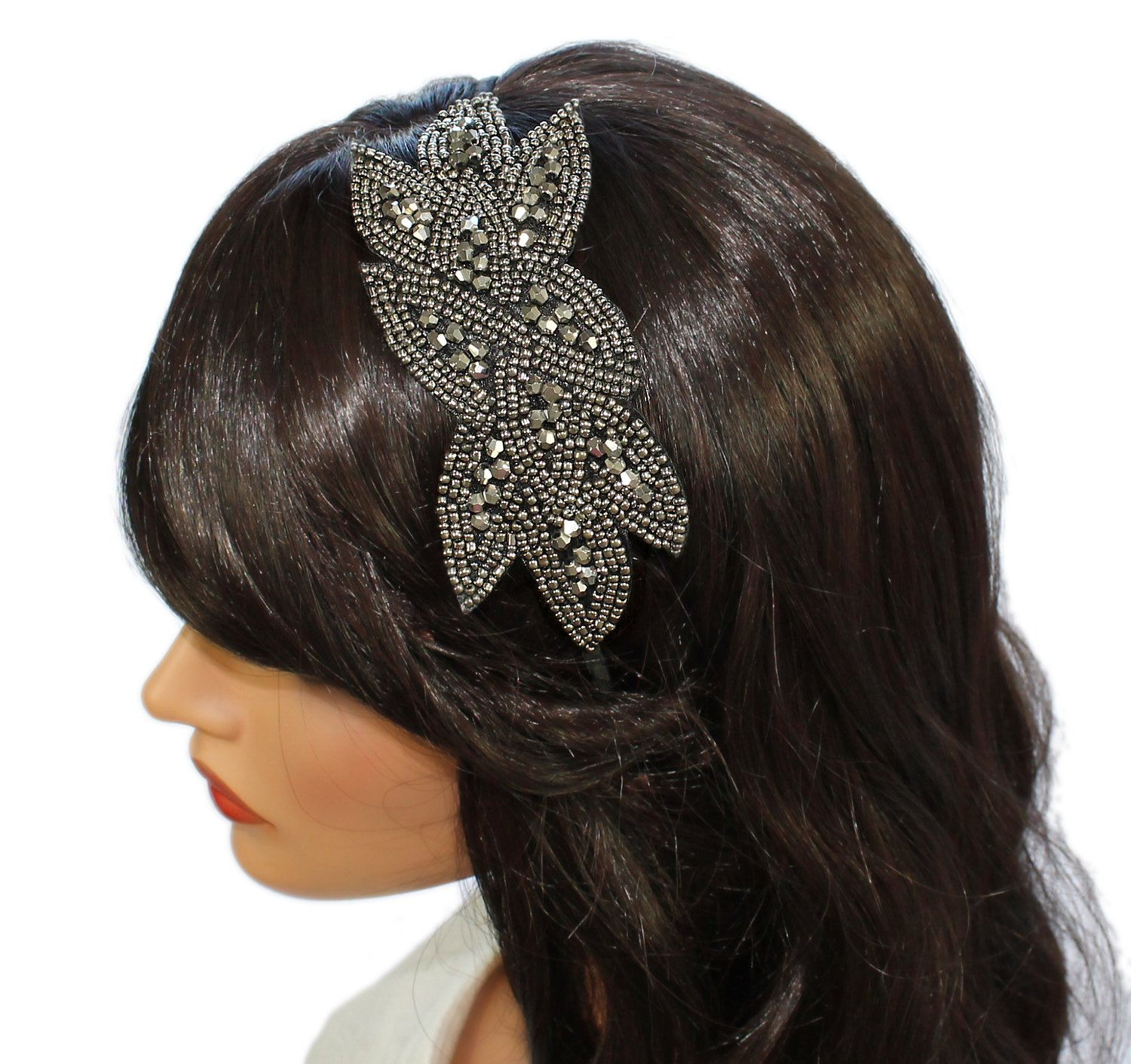 Beaded Flapper Headband Leaf Vintage 1920s Inspired Hairband Hair Accessory, Grey by CB Accessories (Image #3)