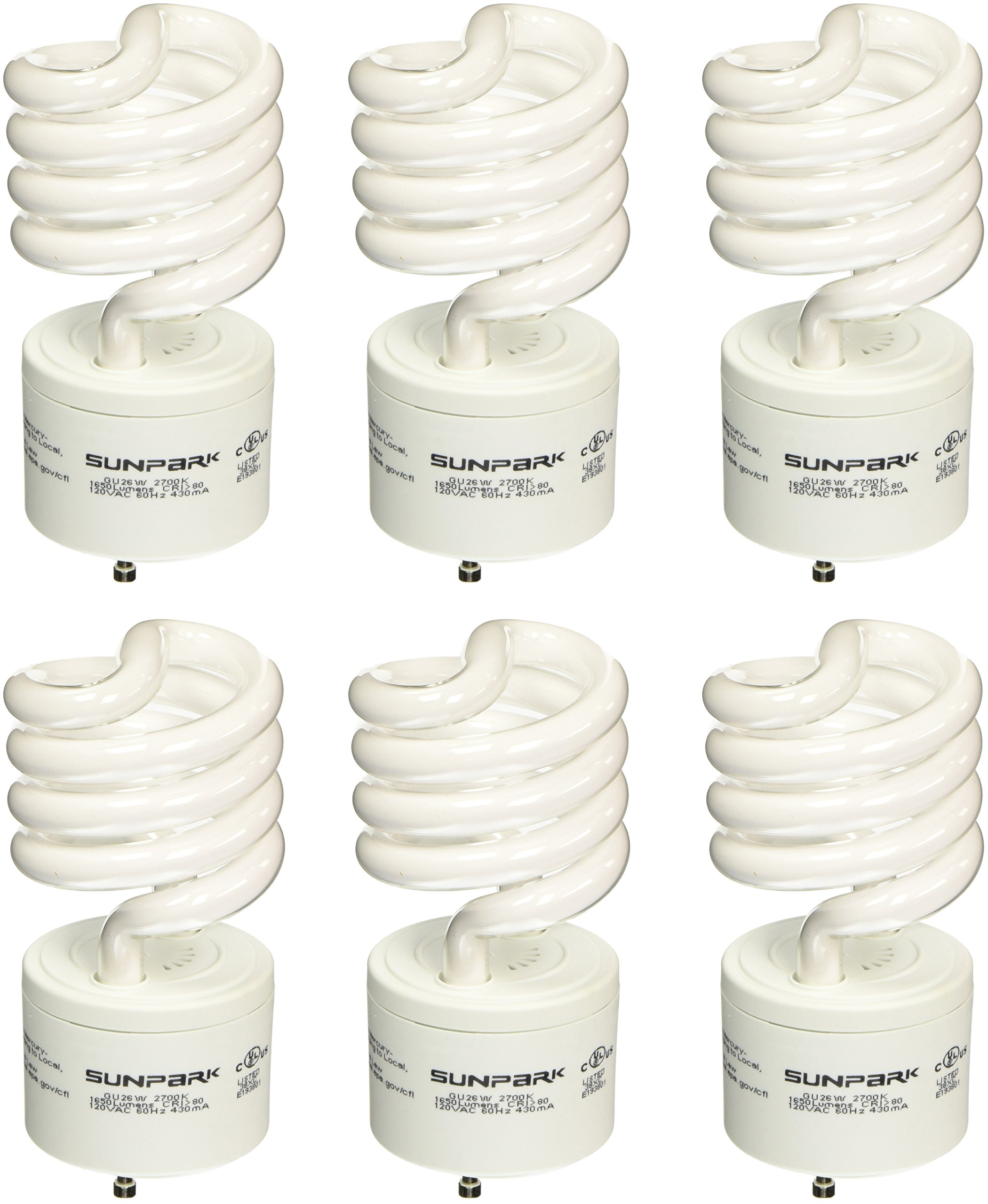 Sunpark 26-Watt GU26 CFL Light Bulb (100-Watt Incandescent Equivalent), Warm White, 6-Pack