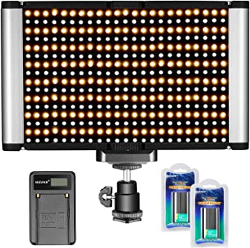 Neewer Dimmable Camera Video Light Kit 3200-5600K,2 Pieces Rechargeable Li-ion Battery and USB Charger for DSLR Camera Photo Studio Photography,YouTube Video Shooting Bi-Color 280 LED Panel CRI 96